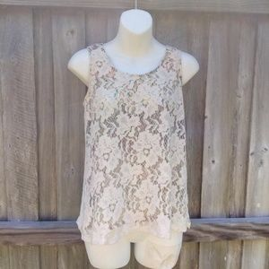 Mystree Lace Cream Tank Top Small Layered